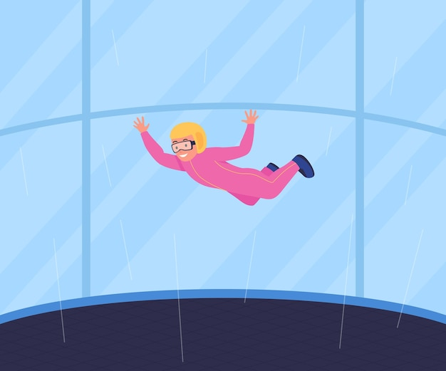 Recreational wind tunnel skydiving flat color illustration
