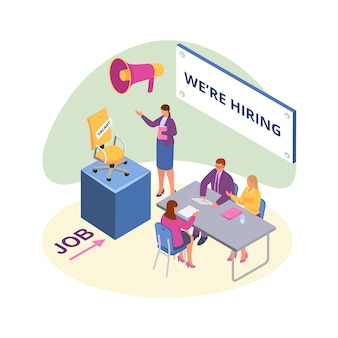 Recruit to vacant job, isometric vector illustration. human resource for employment, business hr interview. man woman worker character recruiting people to company vacancy, office chair.