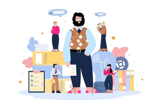 分離された新入社員フラットベクトルイラストを検索する採用担当者