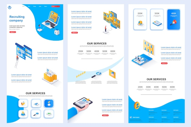 Recruiting company isometric website template landing page middle content and footer