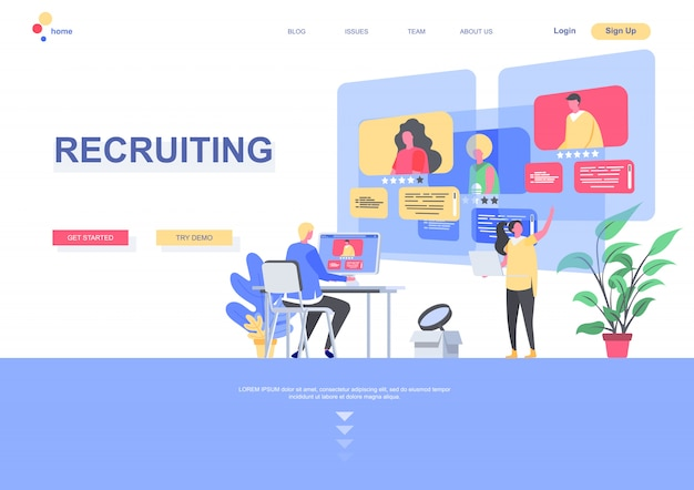 Recruiting flat landing page template. hr manager studying resumes of candidates situation. web page with people characters. human resource management and personnel hiring illustration.
