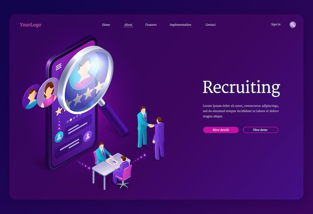 Pagina di destinazione isometrica di reclutamento