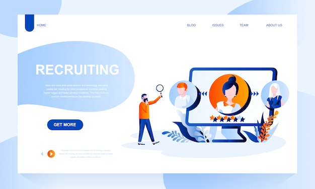 Recruiting landing page template with header