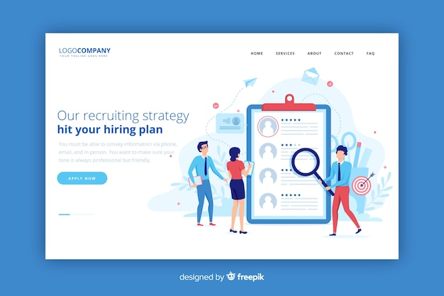 Recruiting strategy landing page