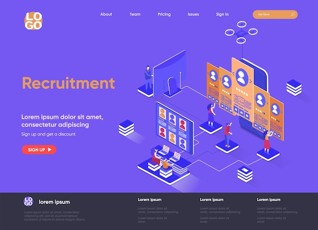 Recruitment 3d isometric landing page website   illustration with people characters
