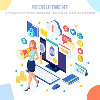 Recruitment. 3d isometric mobile phone, smartphone, cv resume, folder, megaphone, bullhorn, woman with loudspeaker. human resources, hr manager. hiring employees job interview