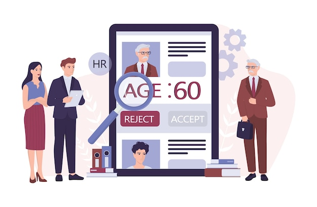 Recruitment ageism concept. hr specialist reject an old man cv. unfairness and employment problem of seniors. human resources department don't hire people aged 50.   illustration
