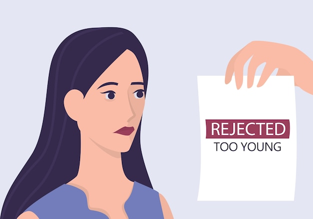 Recruitment ageism concept. hr specialist reject young woman cv. unfairness and employment problem of young adults. human resources department don't hire people aged 20.