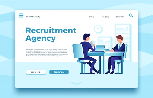 Recruitment agency. business employment landing page, finding and hiring employees agencies online site template
