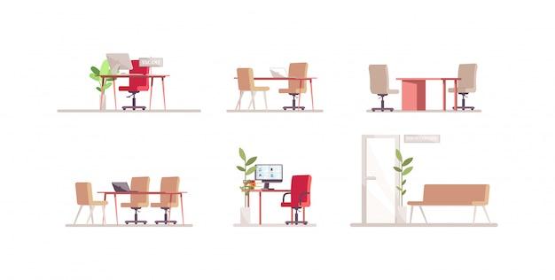 Набор цветных иллюстраций rgb для мебели кадрового агентства. компьютерный монитор на рабочем столе. зона ожидания для собеседования. мебель изолированный мультяшный объект на белом фоне коллекции
