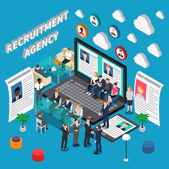 Recruitment agency isometric illustration