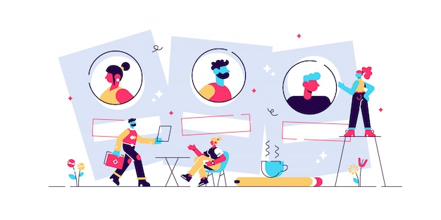 Подбор и трудоустройство. кадровое агентство и хедхантинг компания. собеседование, процесс трудоустройства, выбор концепции кандидата. изолированная концепция творческой иллюстрации