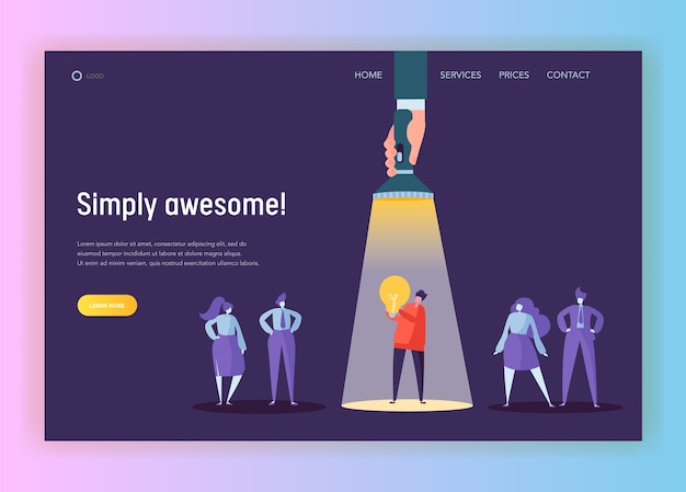 Recruitment career leadership creative idea concept landing page. flashlight pointing to male character lighting. innovation hr company solution website or web page. flat cartoon vector illustration