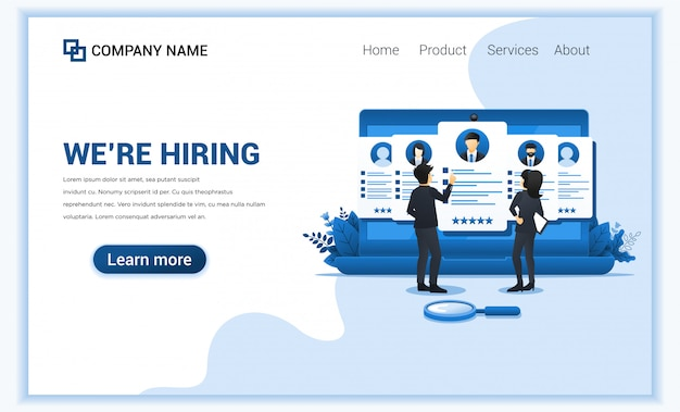 Recruitment concept and application for employee hiring.