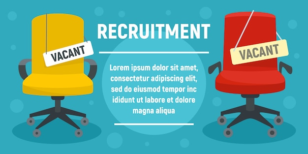 Recruitment concept banner template, flat style