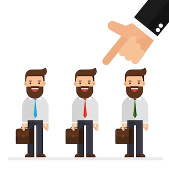 Recruitment concept hand pointing to businessman