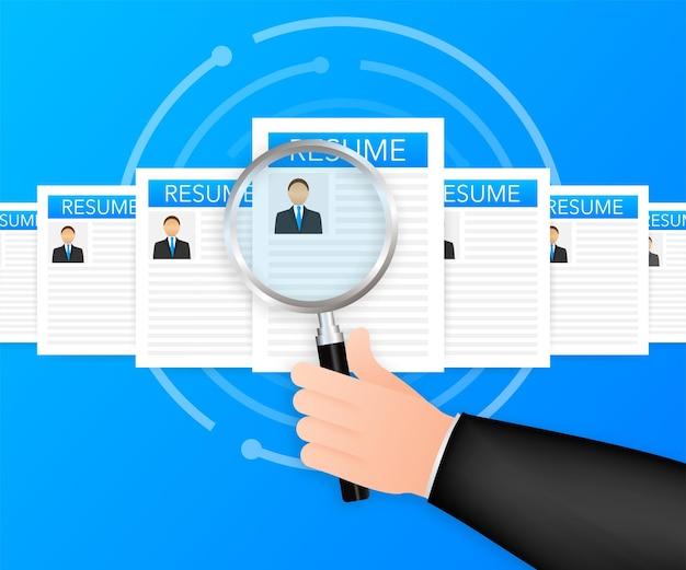 모집 개념입니다. 고용 노동자, 선택 고용주는 일자리를 찾는 팀을 찾습니다. 이력서 아이콘입니다. 벡터 일러스트 레이 션
