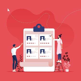 採用コンセプト-hr投票、またはチェックマーク付きの求職者の選択