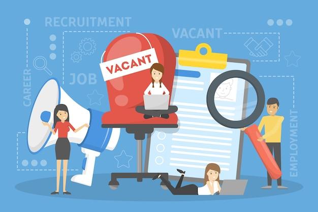 Концепция набора. идея занятости и человека