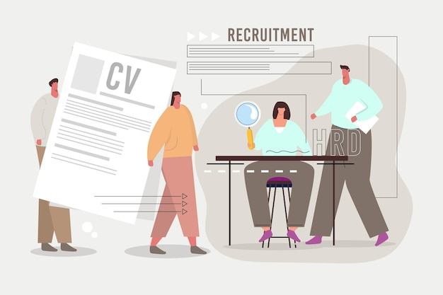 Recruitment concept illustration with big cv