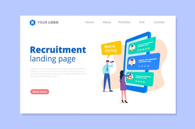 Recruitment concept landing page Premium Vector