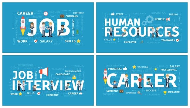 Recruitment concept set. search for new office worker on the job. idea of employment. human resources and job interview, building career. isolated flat vector illustration