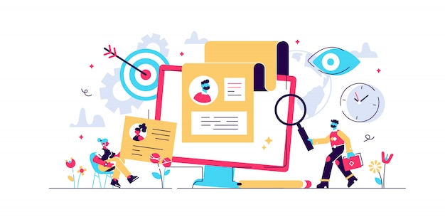 Recruitment concept for web page, banner, presentation, social media, documents, cards, posters. illustration