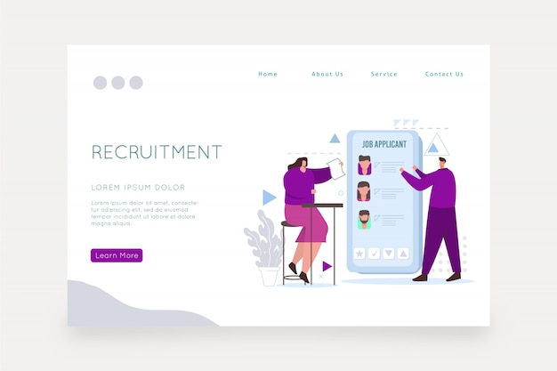 Recruitment concept web page template Free Vector