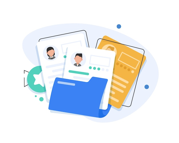 Recruitment documents flat illustration