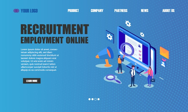 Recruitment employment online landing page