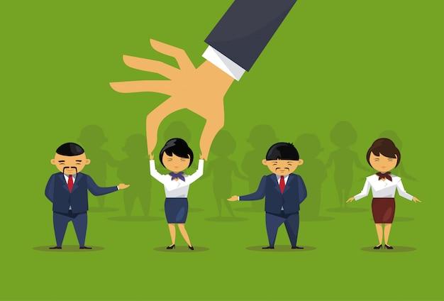 Recruitment hand picking businesswoman