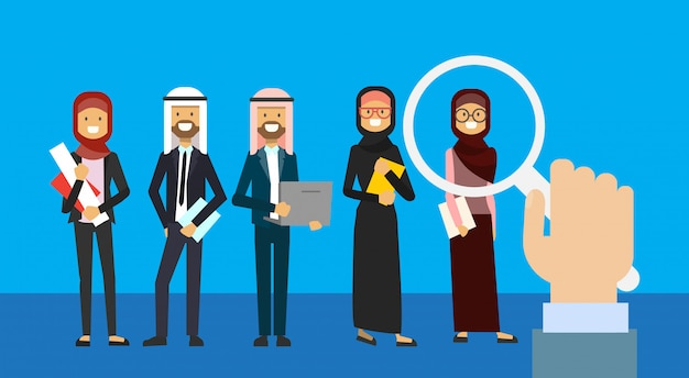 Recruitment hand zoom magnifying glass picking business person candidate from arab people group full length   background