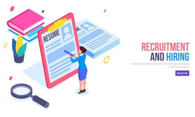 Recruitment or hiring concept based landing page.