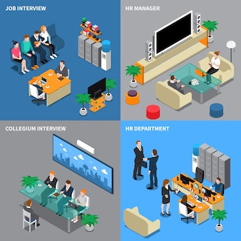 Recruitment hiring isometric people