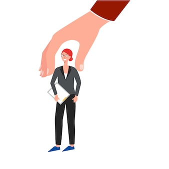 Recruitment or hiring for job business staff flat illustration isolated.
