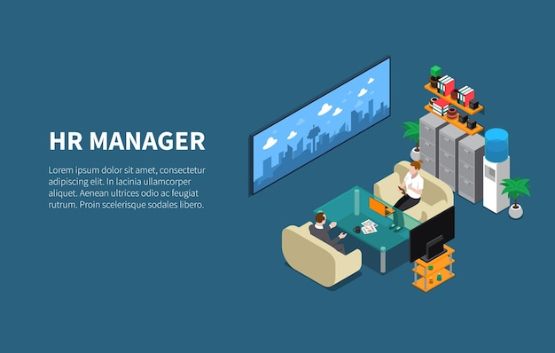 Recruitment hr manager discuss with staff member hiring procedures in his office isometric illustration