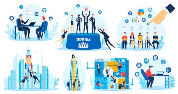 Recruitment hr search concept vector illustration set