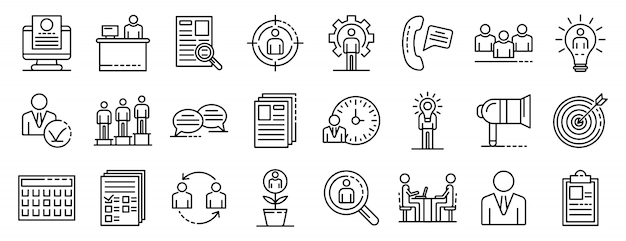 Recruitment icons set, outline style
