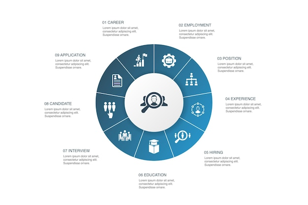 Набор инфографики 10 шагов круговой дизайн