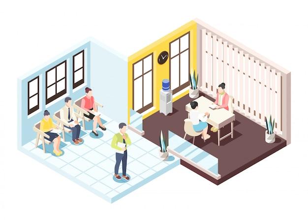 Composizione isometrica in assunzione con la gente che si siede sulle sedie che attendono intervista per l'illustrazione di vettore di occupazione