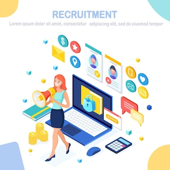 Recruitment. isometric computer, laptop, pc, cv resume, folder, megaphone, bullhorn, woman with loudspeaker.