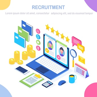 Recruitment. isometric computer, laptop, pc with cv resume, folder, stars. human resources, hr.