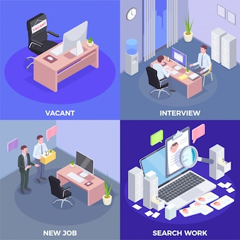 Recruitment isometric design concept with indoor views of job interview procedures conceptual pictogram icons and text  illustration