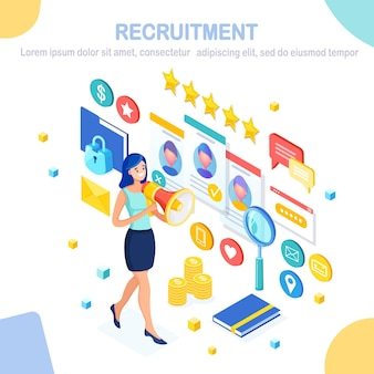 Recruitment. isometric  woman with loudspeaker, bullhorn, cv resume, folder, megaphone.