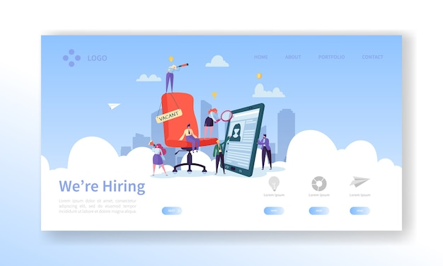 Recruitment, job interview concept landing page. vacancy flat people characters hr managers website template.