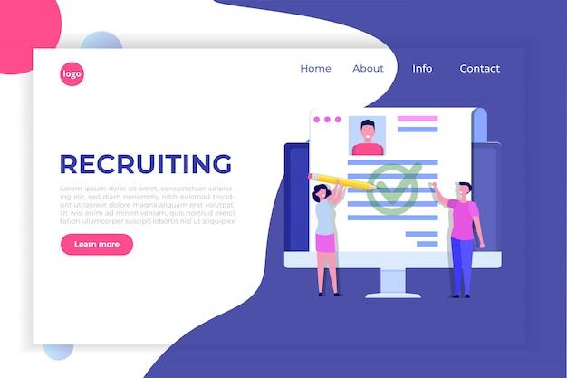 Recruitment, job search concept, landing page template.