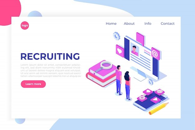 Recruitment, job search isometric concept. use for presentation, social media, cards, web banner.  illustration
