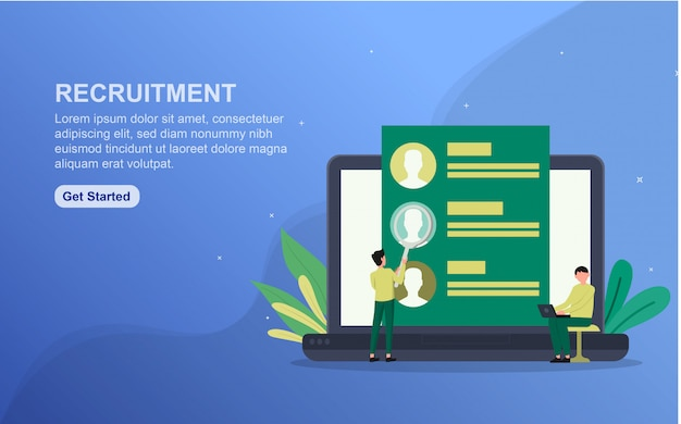 Recruitment landing page template. flat design concept of web page design for website.