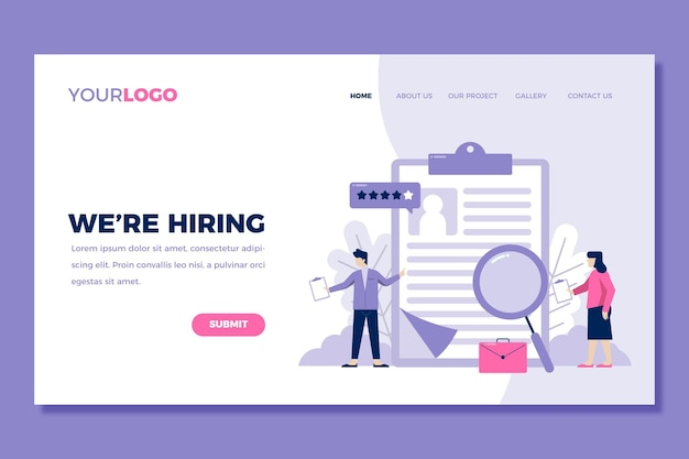 Recruitment landing page template