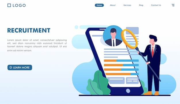 Recruitment landing page website in flat style